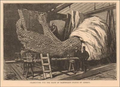 STATUE OF LIBERTY, Hand Under Construction, Antique Engraving MATTED 1883