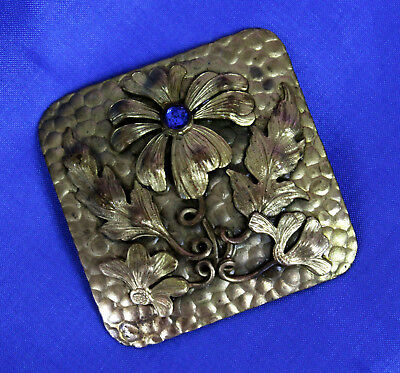 Beautiful Large Vintage Art Nouveau Brass Square Brooch Flower Blue Rhinestone