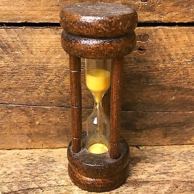 Vintage Egg Timer Hourglass Glass Wood Yellow Sand