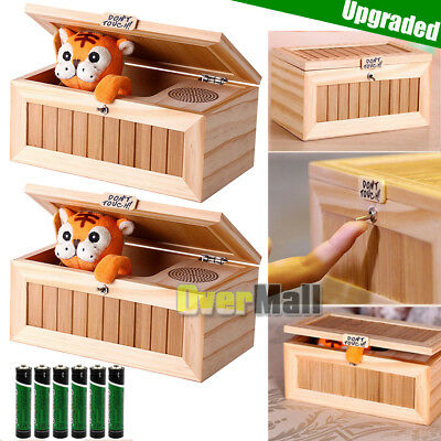 2x Upgrade Useless Box With Sound Leave Me Alone Wooden Box Funny Tiger Toy Gift