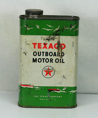 Vintage Texaco Outboard Motor Oil Can Boat Graphics One Quart 3/4 Full