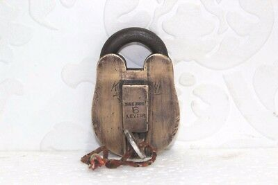 Old Vintage Antique Rare 6-Lever Iron Brass Lock and Key Collectible PA15