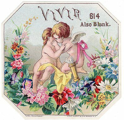 Cigar Box Label Vintage C1890S Original Schmidt Outer Sample Vivir Floral Cherub