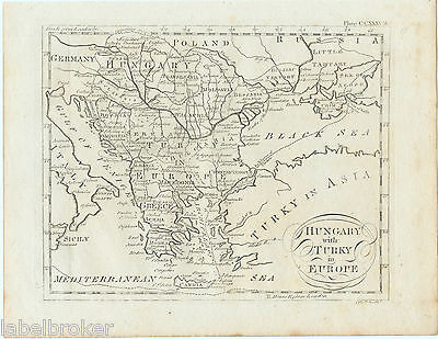 Antique Print Vintage 1797 Original Copper Plate Map Of Hungary Turkey 18Th Cen