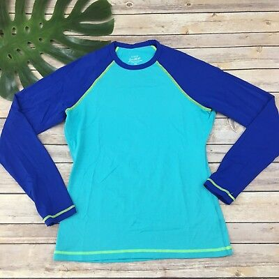 J Crew Womens Sun Shirt Size XS Blue Color Block UPF 50 Swim Rash Guard Long 62bbb80d85