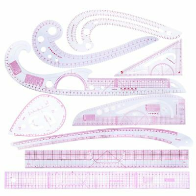 9pcs Sewing French Curve Ruler Measure Dressmaking Tailor Drawing Template
