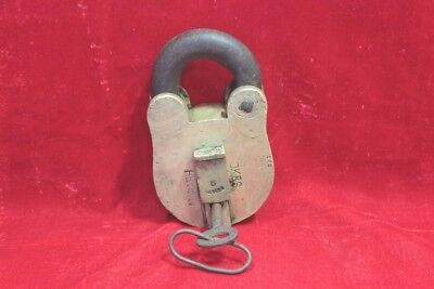 1900s Old Vintage Antique Rare 6 Lever Brass Lock and Key Collectible BB10