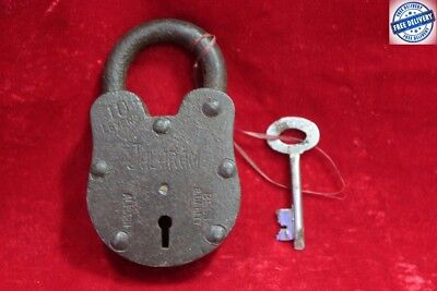 Handcrafted Old Antique Vintage Rare Iron Brass Lock and Key Collectible BC-86