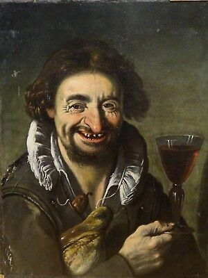 17th Century Italian Old Master Portrait Laughing Man Red Wine & Bread Antique