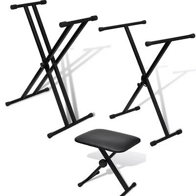 Keyboard Stand&Stool X Frame Folding Height Adjustable Portable Strong for Piano