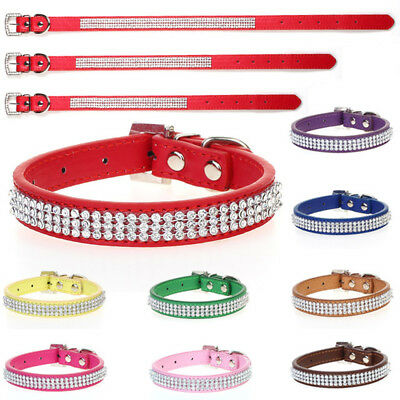 Dog Cat Pets Multi color Safety Collar Diamante Rhinestone Crystal Leather Band