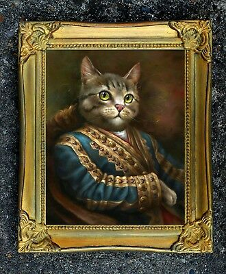 """""""The Captain """" Fine Oleograph on Canvas  of a Cat after Thierry poncelet"""
