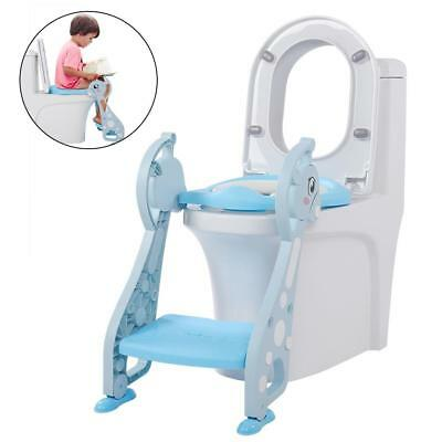 Kids Baby Child Toddler Potty Loo Training Toilet Seat & Step Ladder Blue
