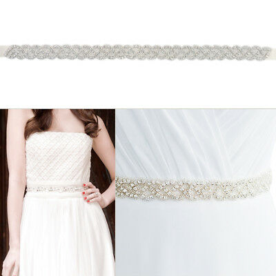 Bridal Sash Wedding Women Ladies Rhinstone Dress Belt with Satin Ribbon FA125