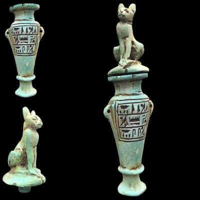 Beautiful Ancient Egyptian Hieroglyphic Vase With Cat To Top 300 Bc (1)