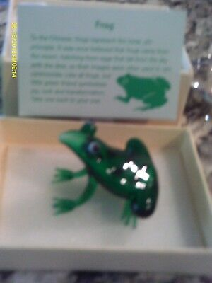Crystal Green Frog Figurine in original box with item card