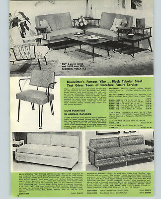 1957 PAPER AD Baumritter's Viko Mid Century Modern Furniture Chair Step Table