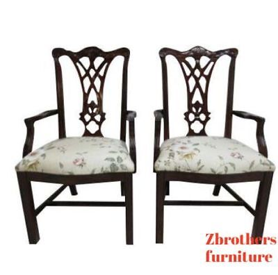 Pair Thomasville Solid Mahogany Chippendale Dining Room Arm Chairs Set