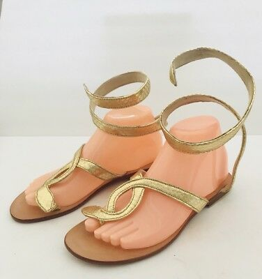 55540ce00 L Space by Cocobelle Women`s Sandals Snake Wrap GOLD Leather Thong Sandal  NWOT
