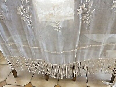 c.1910  French Chateau Curtain/Silk Thread Handstitched Flowers