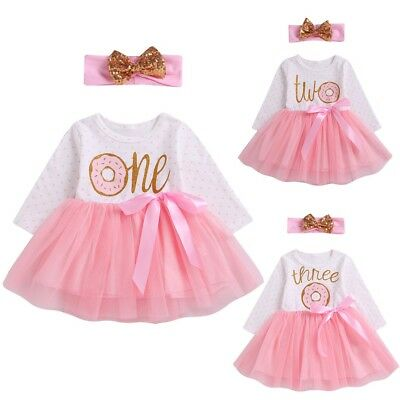 Infant Baby Girls Letter Ribbons Bow TUTU Skirt Dress Hairband Outfits Pink CA
