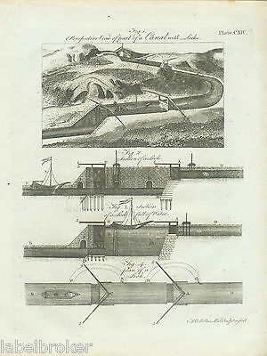 Antique Print Vintage 1798 1797 Original Copper Plate Canal Engineering Lochs