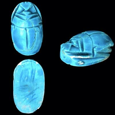 Beautiful Ancient Egyptian Glazed Scarab Bead Seal 664 - 332 Bc (4)