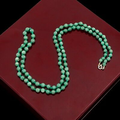 Antique Vintage Deco Gold Plated Chinese Tibetan Aventurine Prayer Bead Necklace