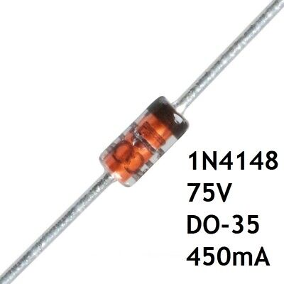 Lot de 10 Diodes 1N4148 de Commutation DO35 450mA 75V THT Semi Conducteur Rapide