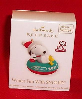 Hallmark 2011 Winter Fun Snoopy Inner Tube Miniature Ornament Series Mini MINT