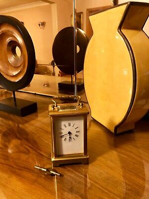 Carriage Clock Cut Bevelled Glass Side/ Top Good Working Order
