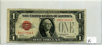 United States Note $1 One Dollar 1928 Red Seal in VG Condition SN A00172634A