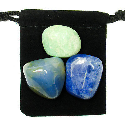 5th THROAT CHAKRA Tumbled Crystal Healing Set = 3 Stones + Pouch + Description