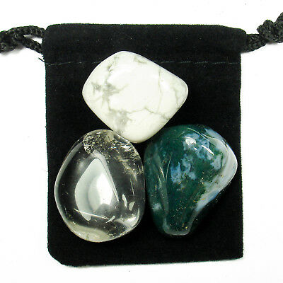 7th CROWN CHAKRA Tumbled Crystal Healing Set = 3 Stones + Pouch + Description