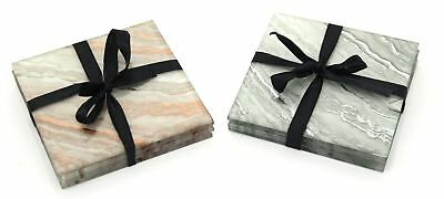 Set Of 4 Glass Marble Swirl Drink Mat Coasters