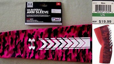 UNDER ARMOUR protective compression Baseball Arm Sleeve Pink-white camo sz L/XL
