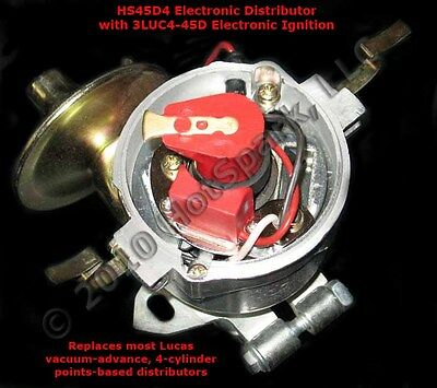 Electronic Ignition Replaces Points in 4-cyl Lucas 45D distributor - 3LUC4-45D