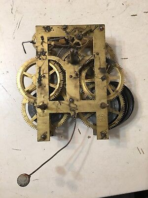 Antique New Haven Wall Clock Movement Parts Anglo American