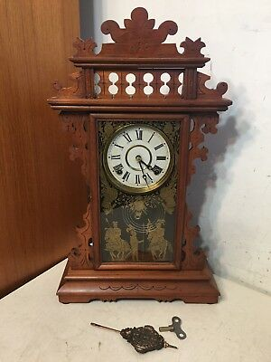 Antique EN Welch Carved Eastlake Parlor Kitchen Mantle Clock