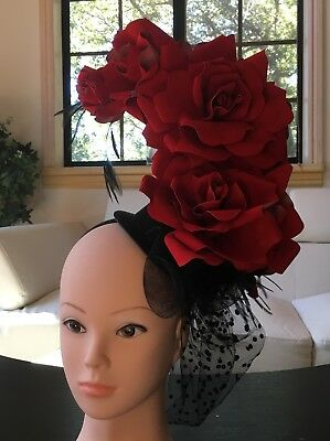Red, Black, Fascinator, Formal, Floral, Church, Derby, Costume, Party, Wedding