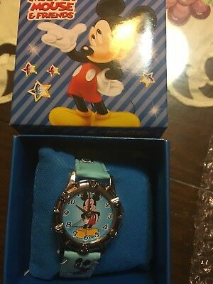 Mickey Mouse  Wrist Watch W/box And Pillow Cushion