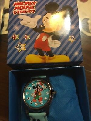 Mickey Mouse  Wrist Watch W/box And Pillow Cushion New