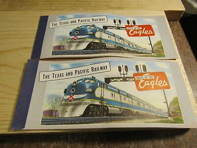 The Texas and Pacific Railroad Ticket Books w Route Maps Set 2 NOS 1950s