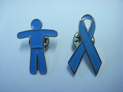 Prostate Awareness Man and Ribbon pin badges. Cancer awareness