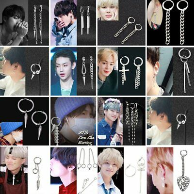 Punk KPOP BTS V Tassels Earrings Bangtan Boys Ear Stud Doulbe Cross Ring Chain