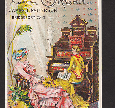 Patterson Organ Piano Bridgeport CT 1800's old Victorian Advertising Trade Card