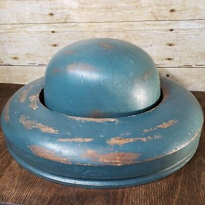 Vintage Wooden Millinery Hat Block Form Mold & Brim Ring - Hatters Supply House