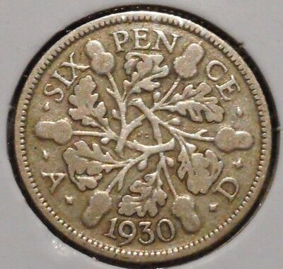 British Silver Sixpence - 1930 - King George V - $1 Unlimited Shipping