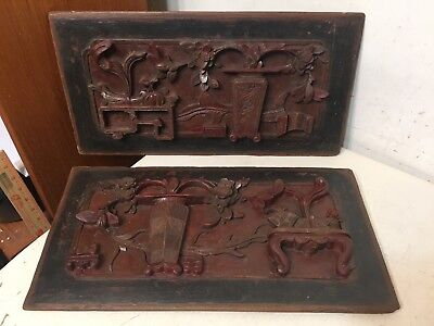 Pair Of Antique Chinese Carved Wood Relief Panels With Export Stamps