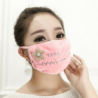 Double Layer Flower Embroidered Mouth Mask Soft Warm Anti-Dust Mouth-muffle